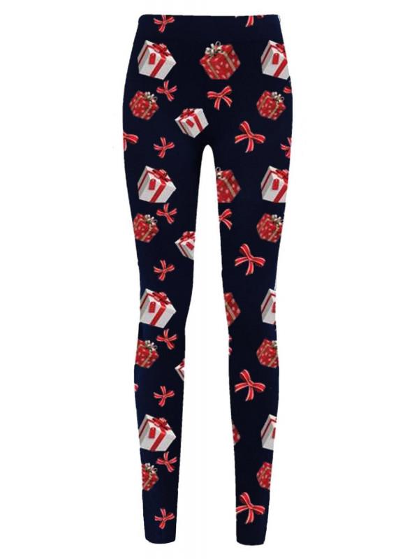 Robyn Navy Gift Tie Xmas Leggings 8-34