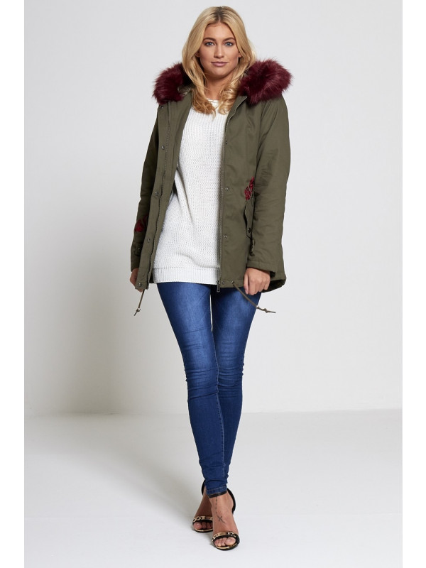 Liana Wine Fur Hooded Fishtail Parka Jacket Coat 8-16