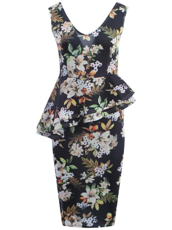 Diana Plus Size Floral Prints Bodycon Midi Dress 16-22