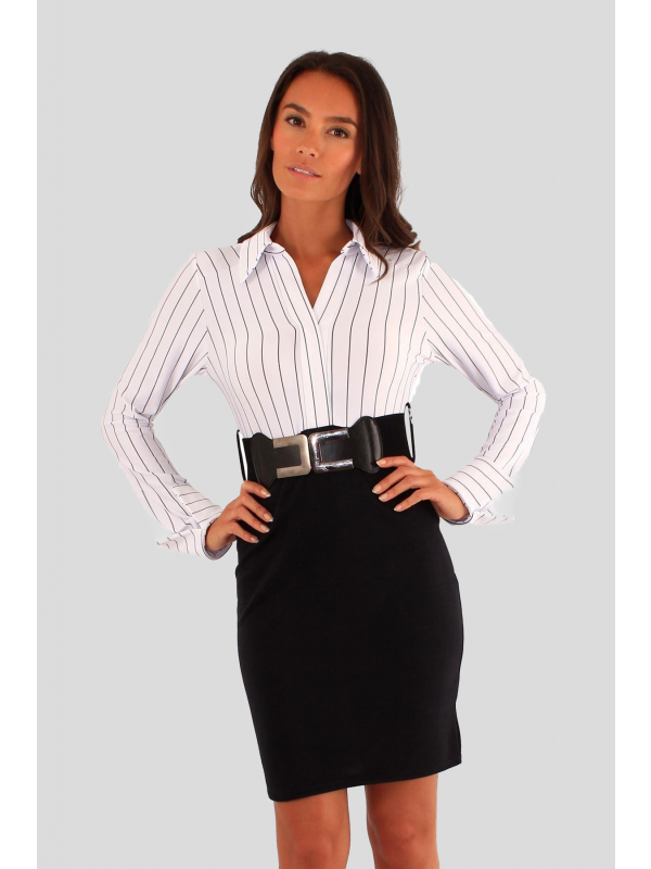 Luana 2 in 1 Stripy Belted Office Wear Dress 8-14