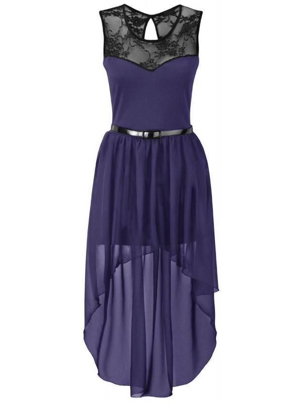 Amina Plus Size Uneven Chiffon Dip Hem Lace Belted Prom Party Dress 16-26