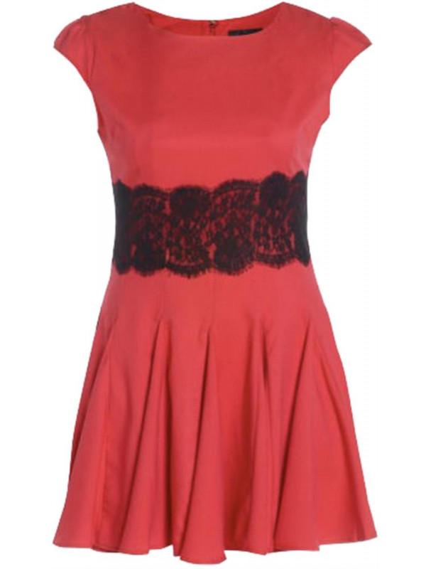 Estelle Plus Size Sleeve Pleated Lace Waist Flared Mini Skater Dress 22-26