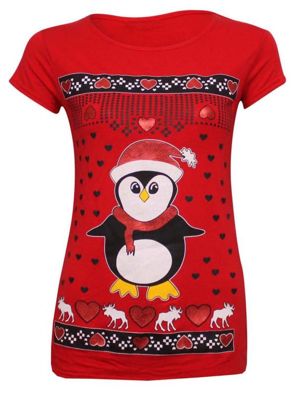 Evelyn Plus Size Novelty Xmas Penguin T Shirt Tops 16-26