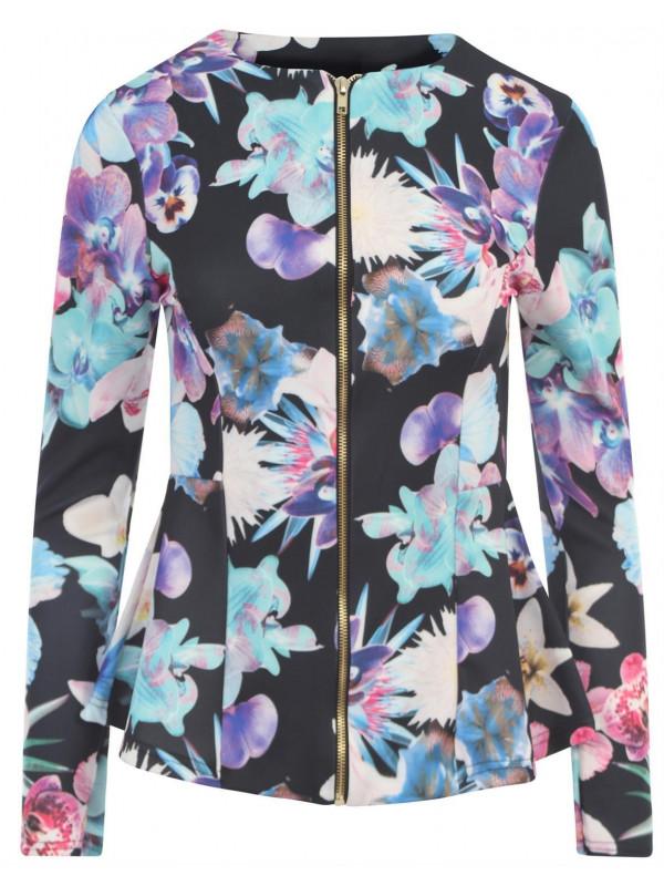 Elsa Full Sleeve Zip Peplum Blazer Jacket 8-24