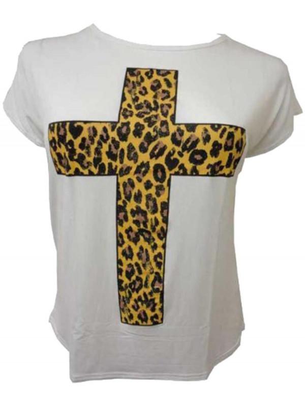 Elise Leopard Foil Cross Print T Shirts 16-26