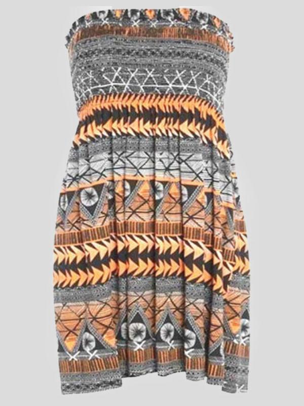 Abigail Plus Size Orange Aztec Printed Boobtube Top 16-26
