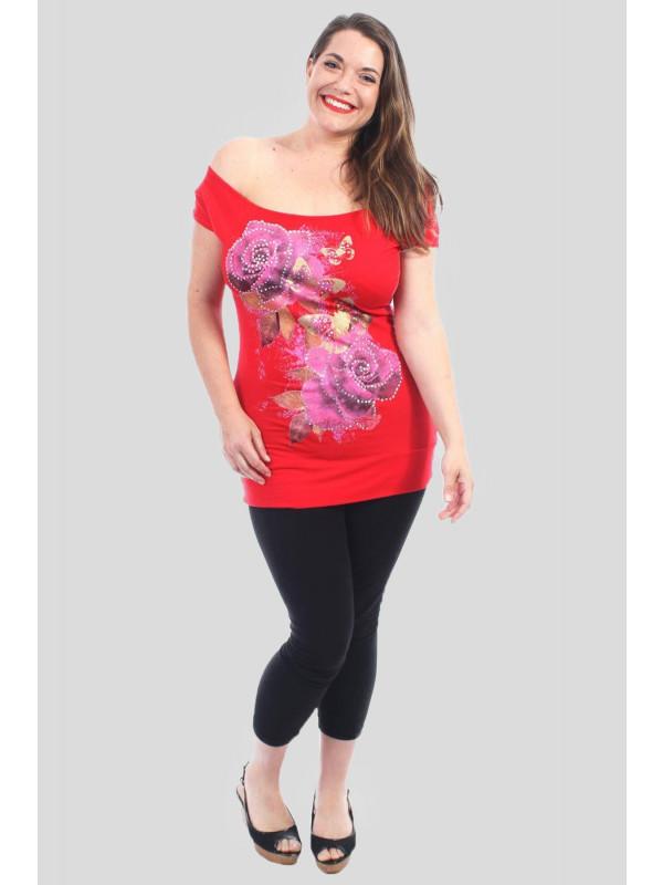 Abigail Plus Size Cerise Rose Floral T-Shirts 16-22