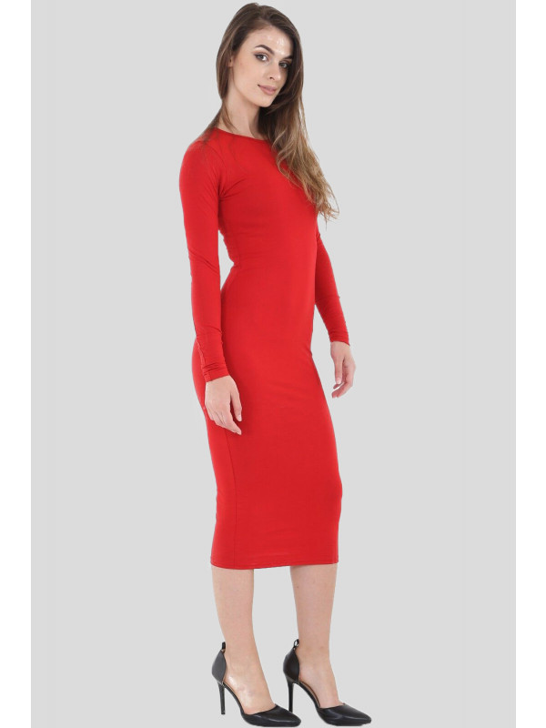 Adele Plus Size Long Sleeve Bodycon Midi Dress 16-26