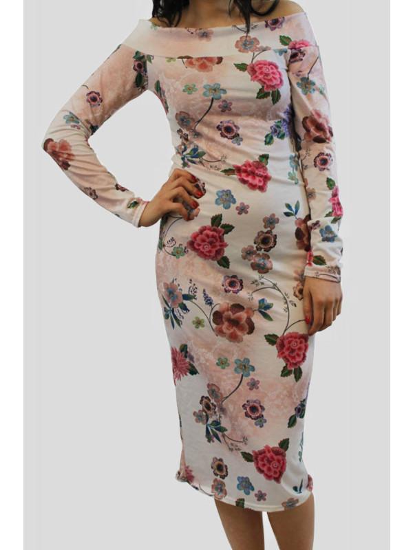 Lucy Plus Size Cream Floral Off Shoulder Midi Dress 16-22