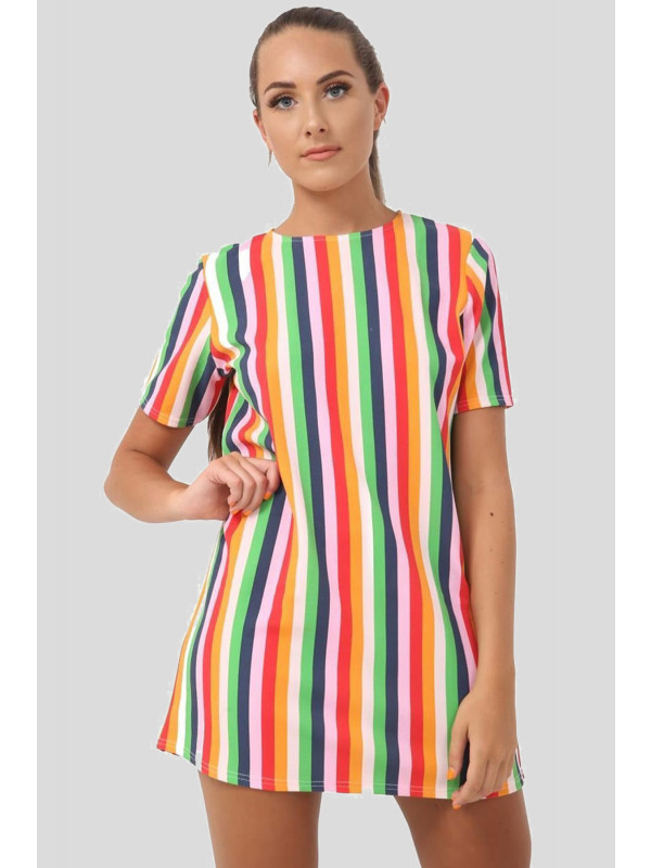 AIZA Rainbow Stripe Print Mini Retro Shift Dress 8-14
