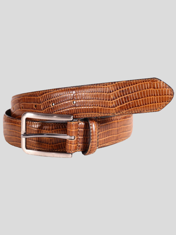 Alfred Mens Brown Snake Skin Buckle Genuine leather Belts S-3XL