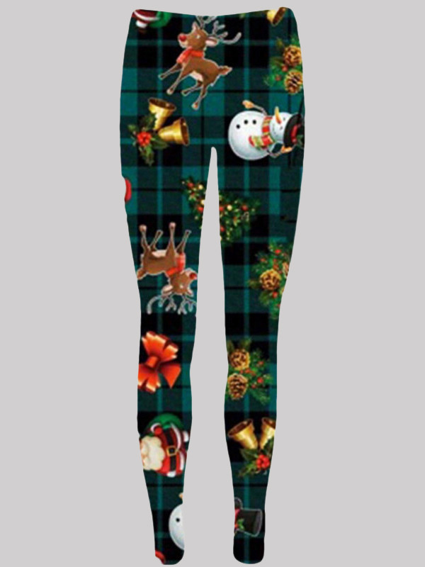 Alice Plus Size Green Tartan Reindeer Xmas Leggings 16-34