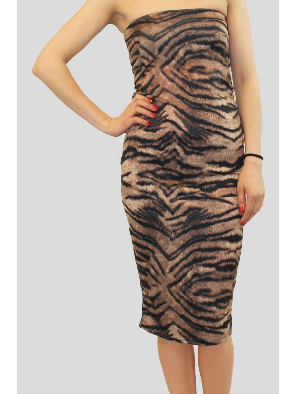 ELISSA Tiger Print Bodycon Dress 8-14