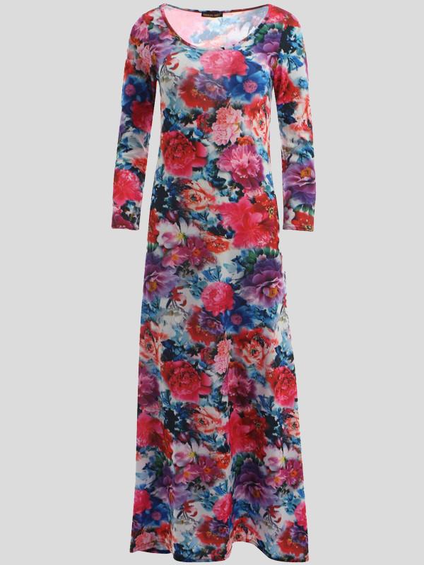 AMAYAH Plus Size Cerise Floral Scoop Dress 16-18