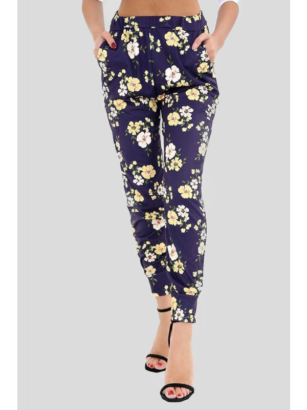 MAEVE Blue With Yellow Flower Print Leggings 8-14