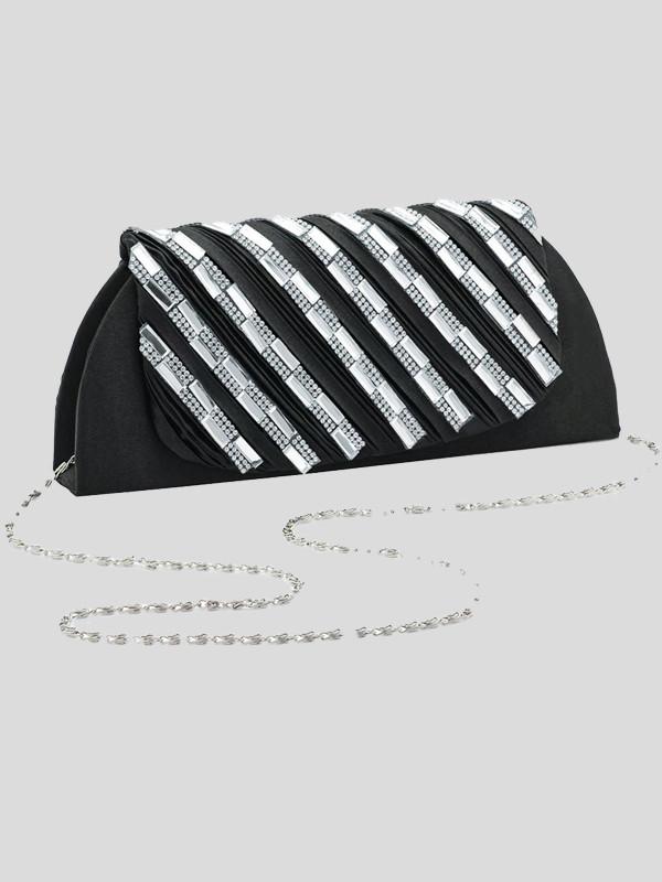 Amelie Ruffle crystal clutch bag