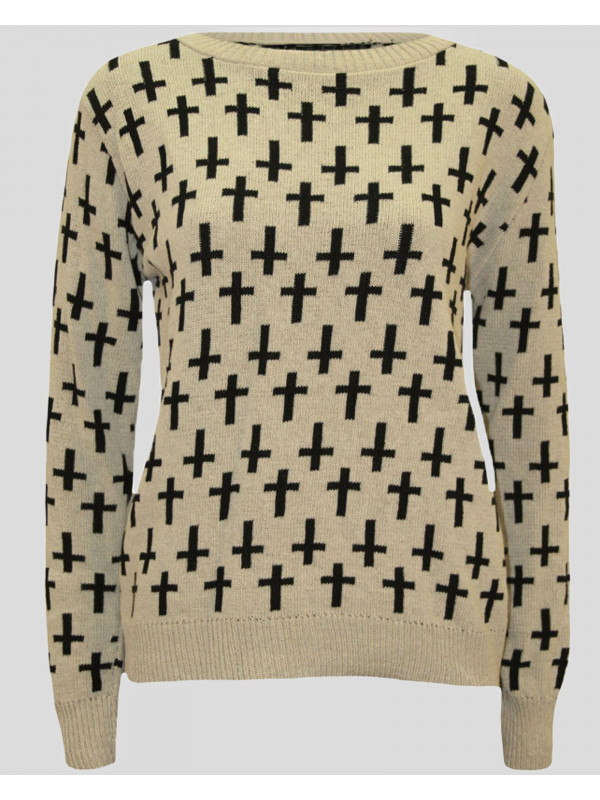 Ananya Cross Print Knitted Jumper 8-14