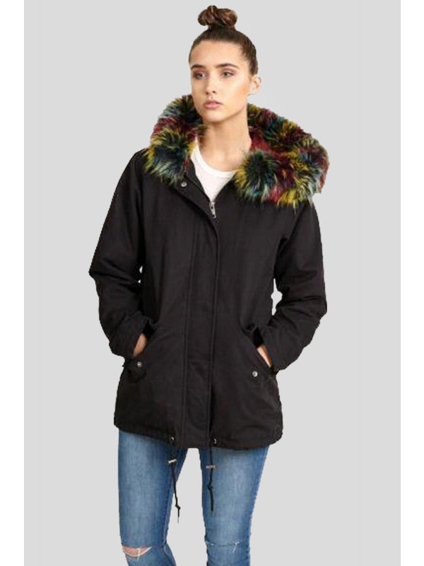 Aniya Multi Colour Faux Fur Hooded Jackets Coats 8-16