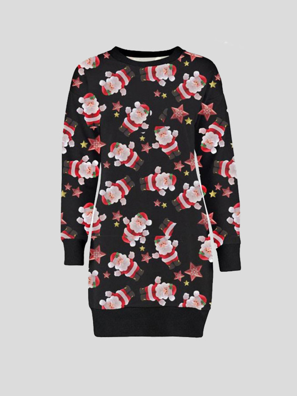 Lili Plus Size Black Santa Red Star Xmas Jumpers 16-22
