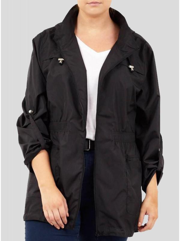 Aria Black Trouble Showerproof Mac Raincoats 8-16