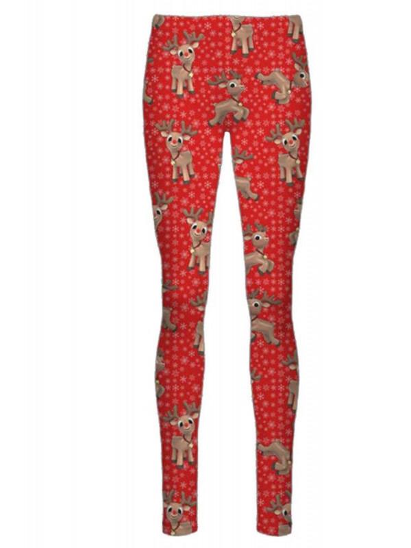 Aria Red Reindeer Flakes Xmas Leggings 8-14