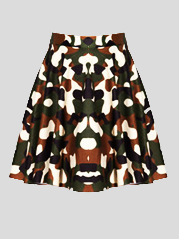Zoey Plus Size Army Print Skirt 16-28