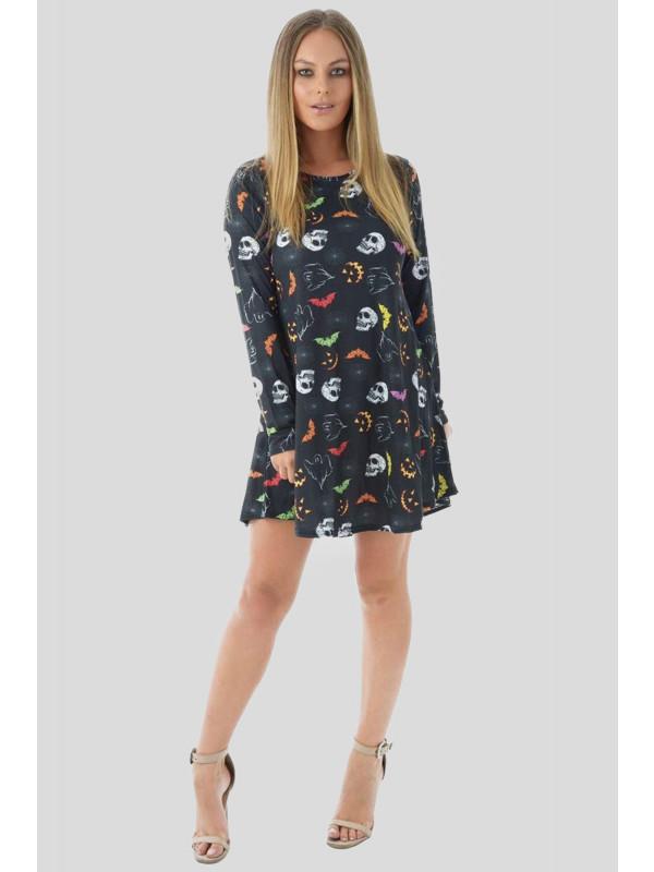 Ashlyn Plus Size Halloween Black-Multi Bat Swing Dress 16-26