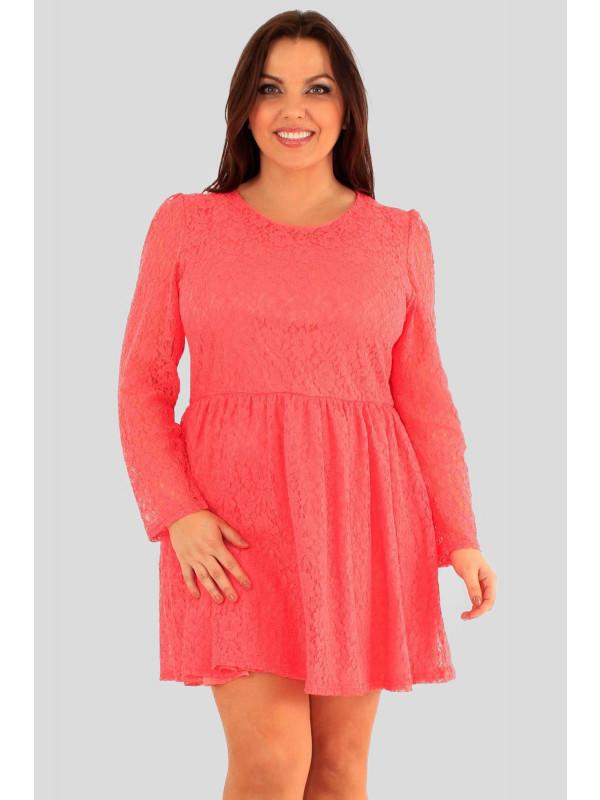 Ava Plus Size Floral Lace Puff Skater Dress 18-24