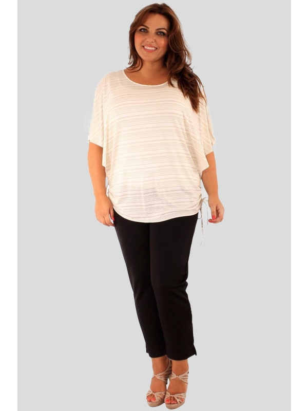 Ayla Plus Size Gold Stripe Kimono Baggy Tops 16-26
