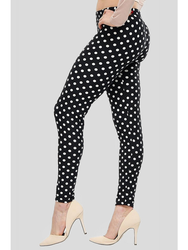 Beth Plus Size Black Polka Dot Print Leggings 16-26