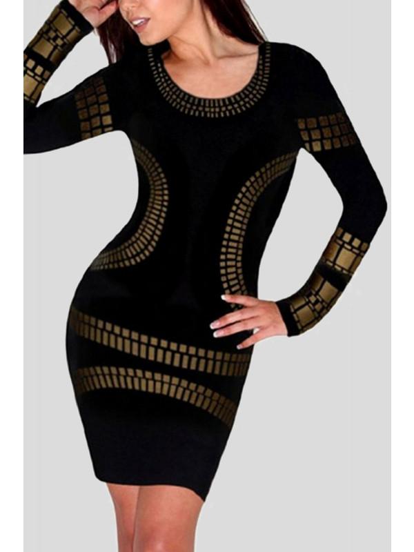 Amber Plus Size Gold Foil Print Dress 16-26