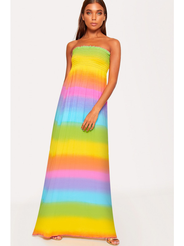 Brooke Rainbow Print Sheering Maxi Dress 8-14
