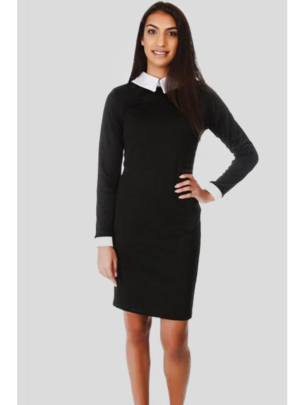 Cadi Long Sleeve Peter Pan Collar Long Bodycon Dress 8-14