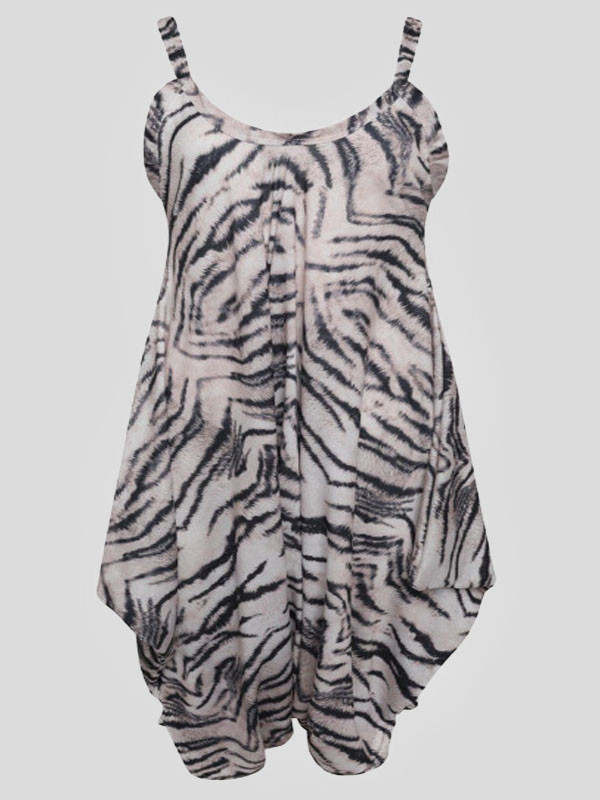 Caoimhe Tiger Printed Baggy Lagenlook Jumpsuit 8-14