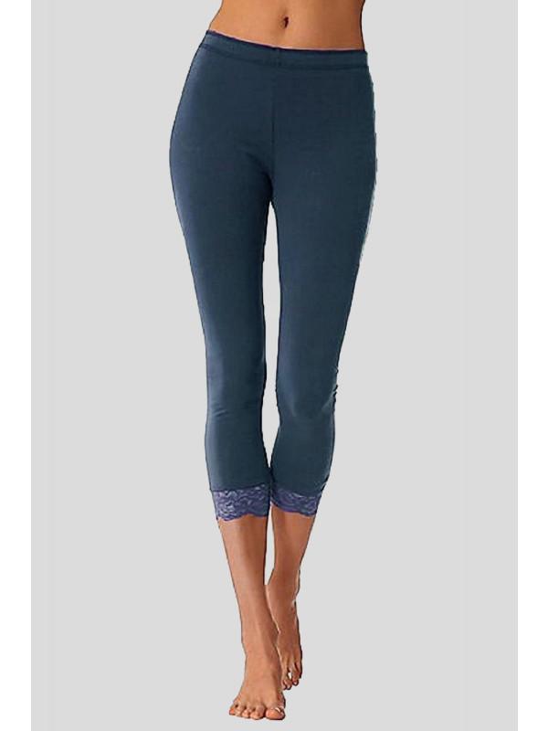 ISRA 3/4 Plain Lace Trim Stretchy Crop Capri Leggings 12-14