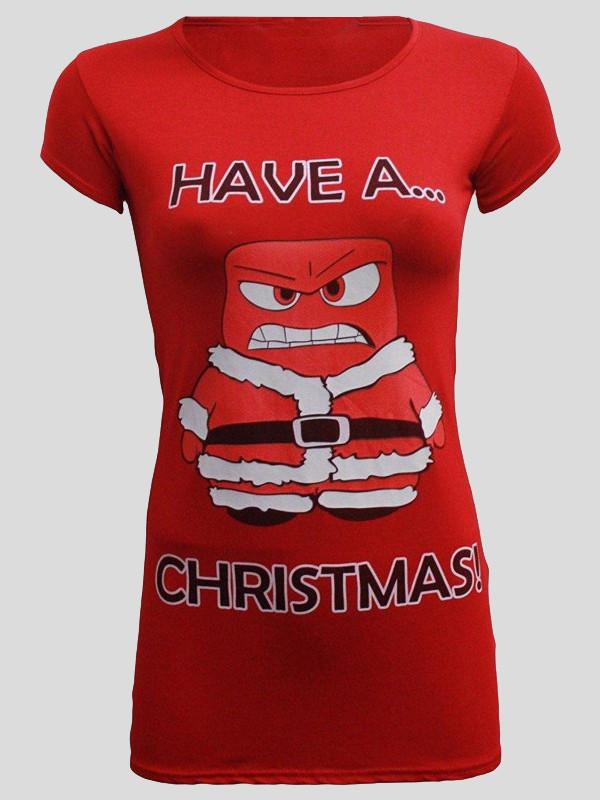 Charlie Angry Santa Print T Shirt 8-14
