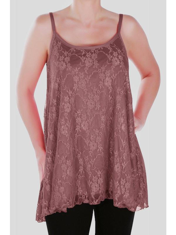 Chloe Plain Floral Lace Vest Tops 12-30