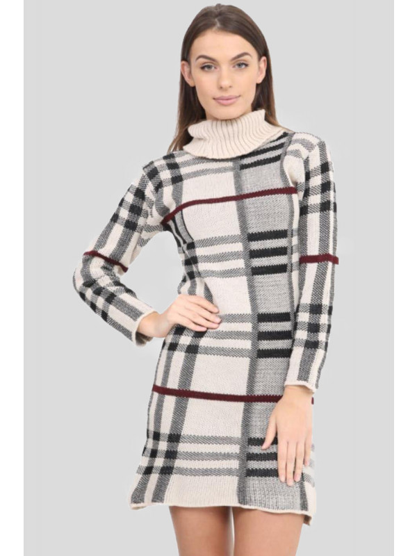 Ciara Knitted Tartan Check Midi Bodycon Jumper Dress 8-14
