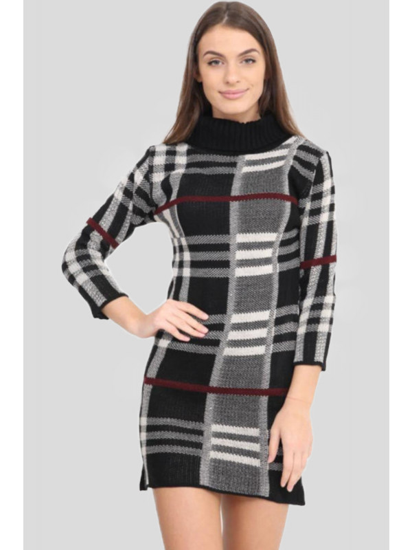 Sana Plus Size Knitted Tartan Check Midi Bodycon Jumper Dress 16-22