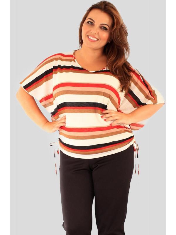 Clara Plus Size Stripe  Kimono Baggy Tops 16-26