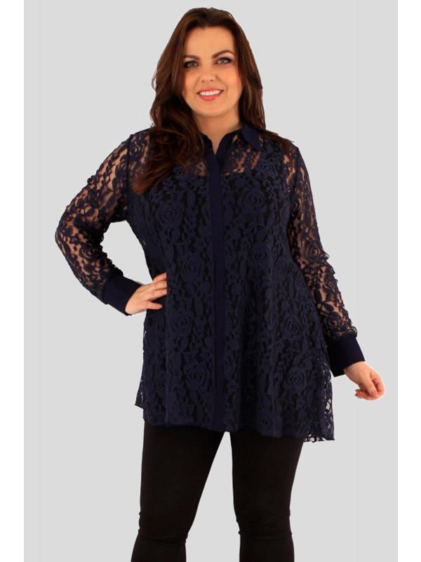Altheya Plus Size Collared Lace Long Sleeve Shirt Tunic Dress 18-24