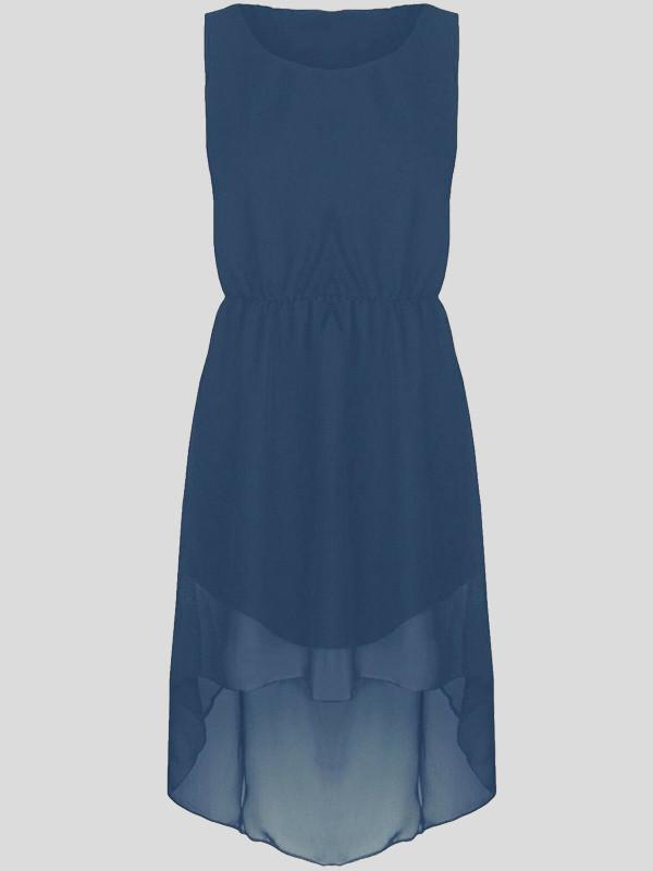 Zofia Plus Size Chiffon Tail Dip Hem Uneven Party Dress 16-26