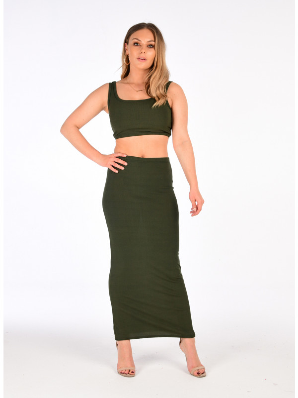 Alaina Crop Top Pencil Skirt Co-Ord Suit Dress 8-14