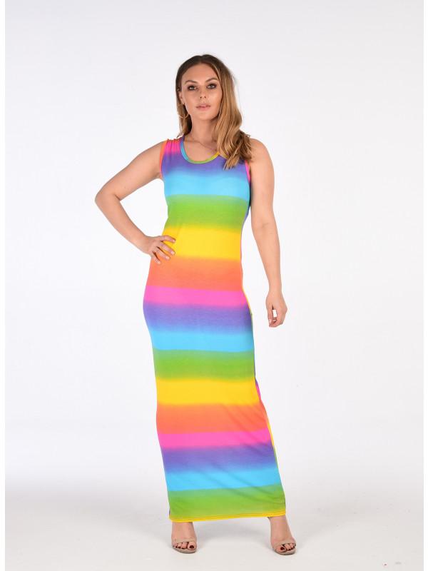 Zahra Rainbow Stripe Multi Colour Print Maxi Dress 8-14