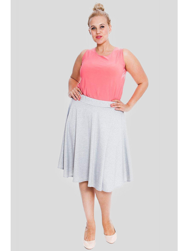 Eadie Plus Size Plain Flared Skater Mini Skirts 16-28