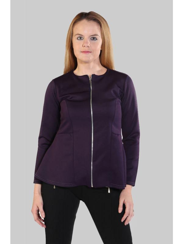 Emaan Plus Size Full Zip Peplum Blazer Waist Frill Skater Jacket 16-24
