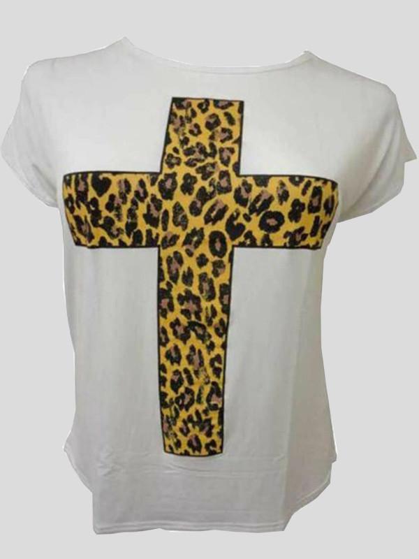 Elise Plus Size Leopard Foil Cross Print T Shirts 16-26
