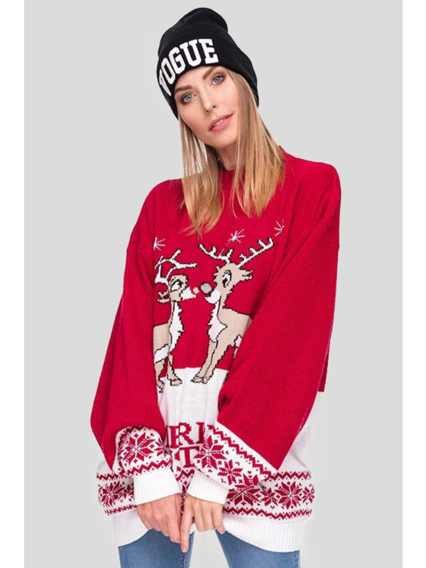Lilian Plus Size 2 Reindeers Jumper Dress 16-30