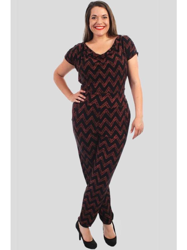 Elizabeth Plus Size Aztec Wine Print Jumpsuits 16-28
