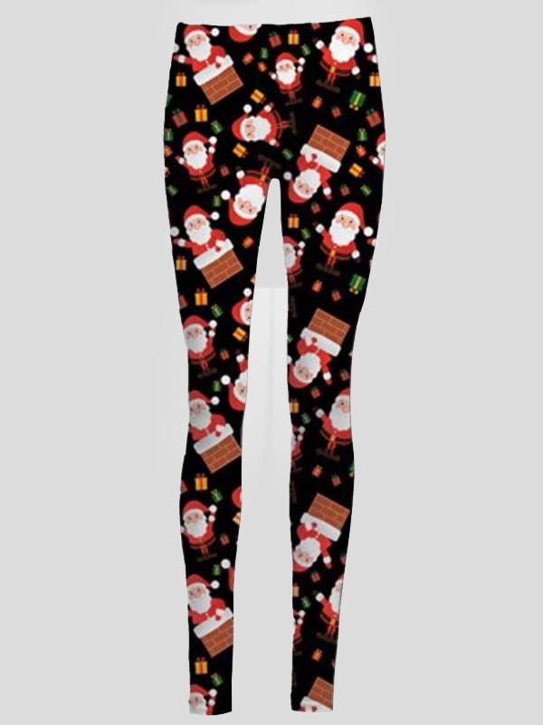 Leah Plus Size Santa On Wall Xmas Leggings 16-34